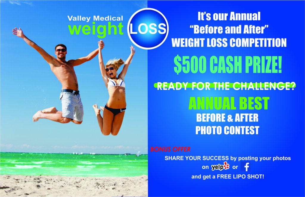Man and Woman jumping on Beach Valley medical weight loss before & After photo contest